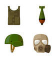 bullet-proof vest mine helmet gas mask vector image