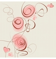 pink flowers and hearts background vector image vector image