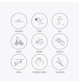 Swimming tennis and golf icons Biking diving vector image