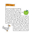 cartoon duck maze game vector image