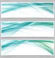 Modern blue swoosh line flyer collection vector image