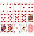 Poker cards heart set four color classic design vector image