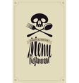 human skull and cutlery vector image vector image