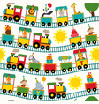 seamless pattern train with birthday characters vector image