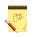 Yellow note paper and pencil vector image