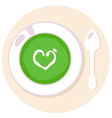 Healthy green Spinach love soup in circle vector image vector image