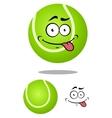 Green cartoon tennis ball with smiling face vector image vector image