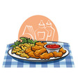 breaded chicken nuggets and french fries with sauc vector image