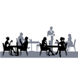 Silhouettes of people in the restaurant or cafe vector image vector image