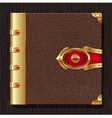 Vintage leather book hardcover vector image