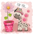 Cartoon Giraffe with a flower vector image