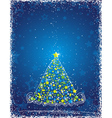 christmas tree on the blue background vector image