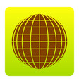 earth globe sign brown icon at green vector image