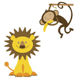 lion and monkey cartoon characters vector image