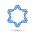 monocrome blue star from ribbon vector image