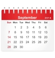 Stylish calendar page for September 2014 vector image