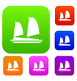 Vietnamese junk boat set collection vector image