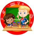 Boy and girl with abacus vector image