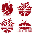 vintage labels set of sport bar and pizza vector image