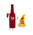 funny beer bottle and yummy pizza slice characters vector image