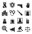 police icons set silhouette vector image