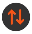 Flip flat orange and gray colors round button vector image