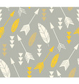 Bohemian feathers and arrows seamless pattern vector image vector image