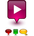 Play speech comic icons vector image