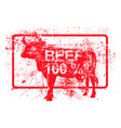 beef 100 per cent - red rubber grungy stamp in vector image