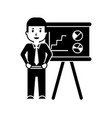 businessman worker standing with presentation vector image