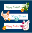 Easter holiday banner set with egg bunny chicken vector image