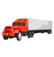 large red goods vehicle on white background vector image