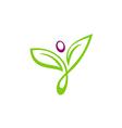 leaf abstract beauty yoga people logo vector image