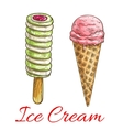 Strawberry ice cream cone fruit popsicle sketch vector image