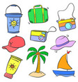 doodle of summer holiday object vector image