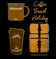 holiday set coffee mug and bag tee graphic design vector image