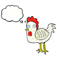 cartoon chicken with thought bubble vector image