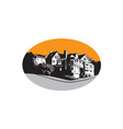 American Mansion House Oval WPA vector image
