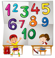 Children and numbers one to ten vector image