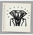 Doodle businessman-diamond sketch concept vector image