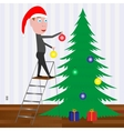 Kid decorating the Christmas tree with balls vector image