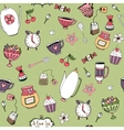 Pattern with teacups teapots sweets and flowers vector image