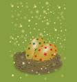 star pattern on golden egg in net for christmas vector image