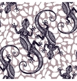 Seamless pattern with geckos vector image