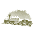 Woodcut Barn and Windmill vector image