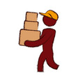 worker deliver silhouette vector image
