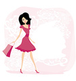 Cute sexy girl with shopping bag vector image