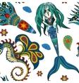 Hand drawn Ornamental Mermaid sea-horse and vector image