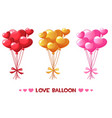 cartoon colored heart balloons set happy vector image