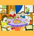 color grandmother is sitting at the table vector image
